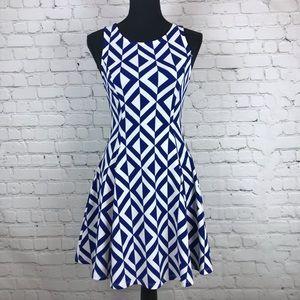 Everly Blue and White Geometric Mini Small Dress